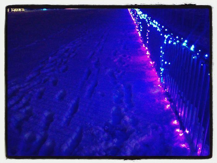Lights Blue Snow Footprints
