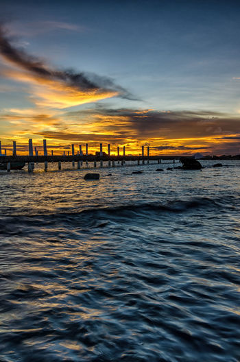Sunset Under Bridge INDONESIA Architecture Beauty In Nature Built Structure Cloud - Sky Connection Day Indonesia_photography Landscape Nature No People Outdoors Scenics Sea Sky Sunset Tranquility Water Waterfront