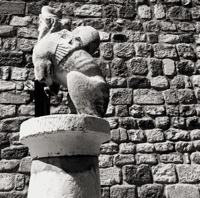 Monochrome Photography Sculpture Statue Brick Wall Art Art And Craft Human Representation Creativity Wall - Building Feature Stone Material Day Outdoors Paving Stone Stone No People (null)EyeEm Best Shots EyeEm Team EyeEm Gallery Archaeology Archaeological Sphinx Turkey Bodrum
