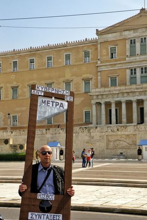 Guillotine Real People Protesters Protesting Against Poverty Greek Reality April 2016 Strike! Greek Parliament Syntagma Square Athens Athens, Greece Streetphotography Street Photography
