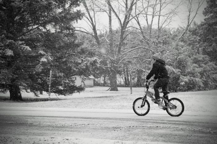 Visual Journal December 3, 2016 Western, Nebraska (Fujifilm Xt1,Canon FD 50mm f/1.8 ) edited with Google Photos. A Day In The Life B&W Collection Bicycle Camera Work Everyday Lives Eye For Photography EyeEm Best Shots FUJIFILM X-T1 Full Length Leisure Activity Lifestyles Manual Focus Manual Mode Photography Mode Of Transport Nifty Fifty Outdoors Photo Diary Photography Real People Riding Rural America Small Town Stories Snowing Visual Journal Winter