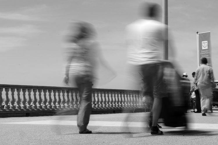 Beach Promenade Blur Blurred Motion Motion On The Move Outdoors Person Walking People And Places Monochrome Photography