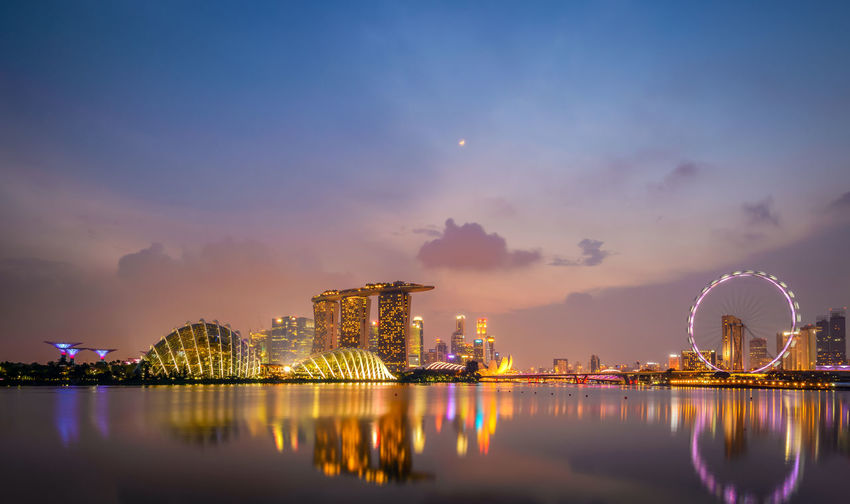 Illuminated Marina Bay Sands At Dusk Against Cloudy Sky