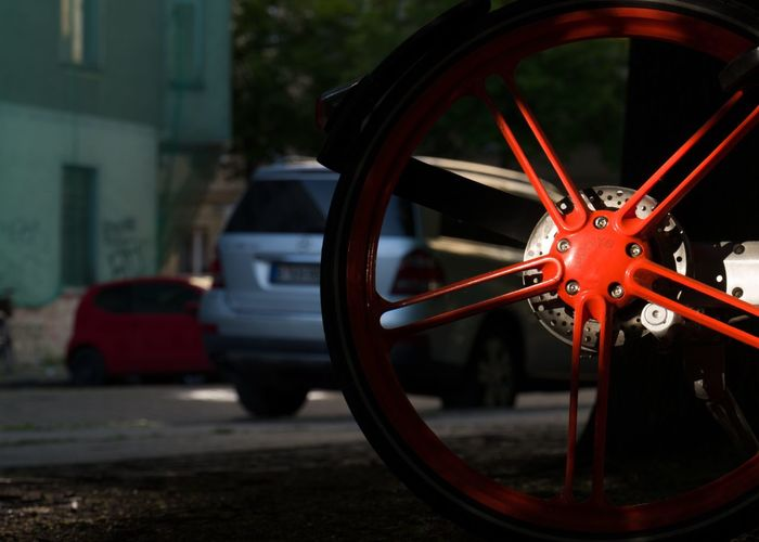 Illuminated Bycicle Bike Mode Of Transportation Transportation Wheel Focus On Foreground Close-up Geometric Shape Street