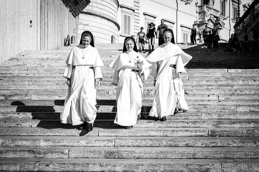 Adult Adults Only Architecture Day Full Length Happy Happy People Italy Nun Nuns Outdoors People Real People Rome Stairs Togetherness Tradition Traditional Clothing Walking Women