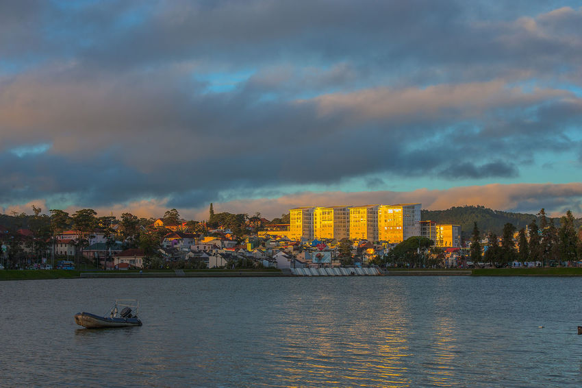 Da Lat City Morning Sky Xuan Huong Lake, Architecture Beauty In Nature Building Exterior Built Structure City Cityscape Cloud - Sky Da  Day Nature Nautical Vessel No People Outdoors River Sky Sunset Transportation Water Waterfront EyeEmNewHere The Architect - 2018 EyeEm Awards