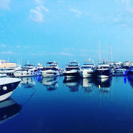 Beautiful blue harbour in Cyprus Limassol Marina Boats Reflections Break From Reality