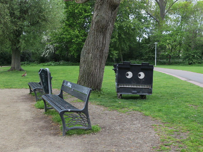 angry waste bin Vondelpark Plant Tree Bench Seat Grass Park Tree Trunk Trunk Park - Man Made Space Growth No People Green Color Outdoors Day Nature Empty Land Park Bench Absence Field Wastebin