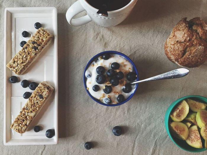 Flatlay Blue Breakfast Fruit Tea Blueberry Muffins Blueberries Fig Table Leisure Activity Morning