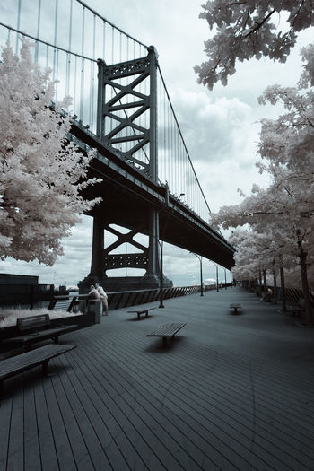 Bridge Bridge - Man Made Structure Built Structure Cloud Cloud - Sky Cloudy Connection Day Diminishing Perspective Engineering False Color Footbridge Infrared Infrared Photography Long Nature No People Outdoors River Sky The Way Forward Tranquil Scene Tranquility Tree Weather