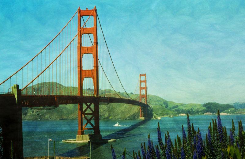 Golden Gate Bridge Textured Art Deco Bridge Golden Gate Bridge Textured Effect Art Deco Art Deco Architecture Digital Painting Flowers No People Outdoors Vintage