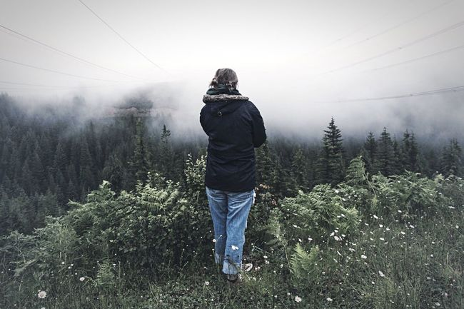 Wander the lands. One Person Tree Forest Fog Rear View People Outdoors Grass Adventure Nature Seattle PNWonderland PNW At Its Finest PNW Summers Pnwnaturescapes ExploreEverything Explorewashington Getoutside Outdoors Photograpghy  Rain Day