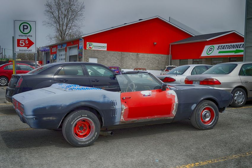 Architecture Building Exterior Built Structure Camaro Car Day Garage Land Vehicle Mode Of Transport No People Outdoors Racing Red Sky Stationary Stockcar  Streetphotography Transportation Urbanexploration