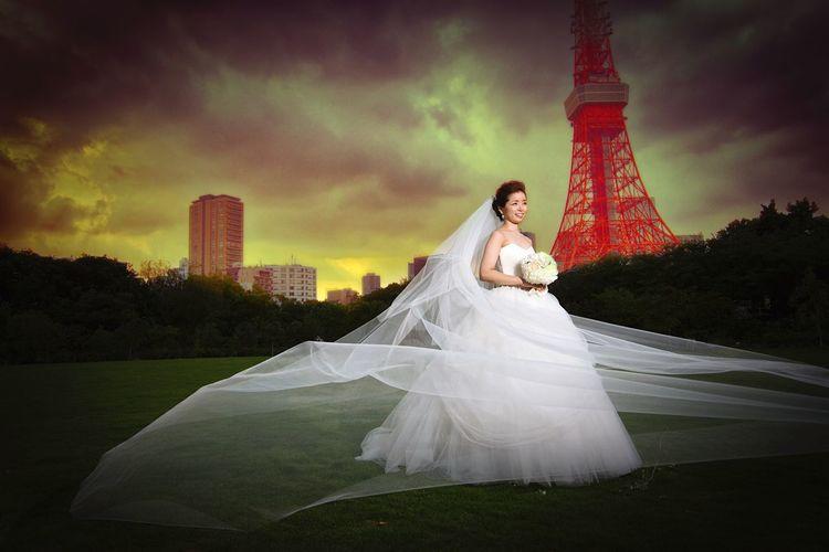 Wedding Photography Bridal Bridal Photoshoot Tokyo Tower Tokyo Portrait Photography Portrait Butiful Sky