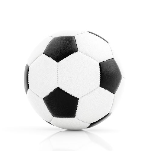 Close-up of soccer ball against white background