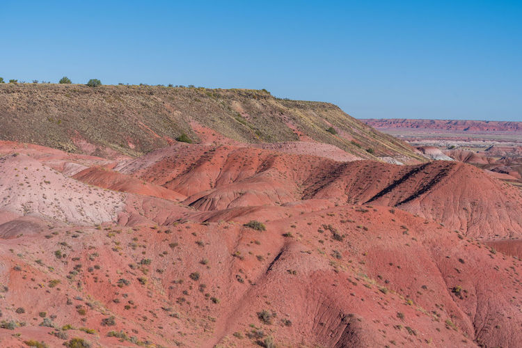 Pink stone hills at the painted hills in petrified forest national park in arizona