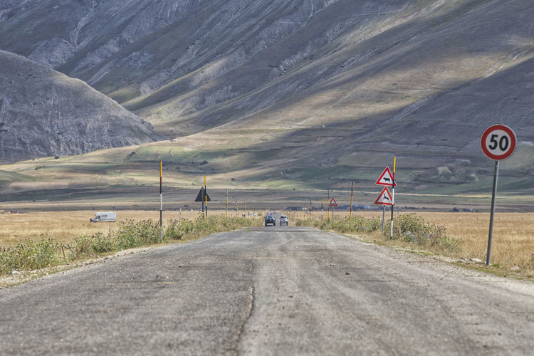 Beauty In Nature Day Italy Mountain Mountains Nature No People Norcia Outdoors Road Road Sign