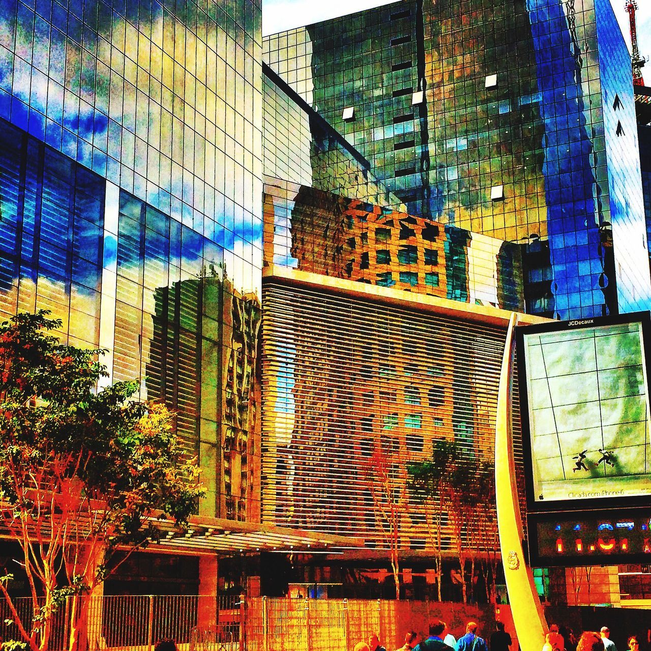 architecture, city, skyscraper, building exterior, modern, built structure, reflection, outdoors, no people, low angle view, day, cityscape