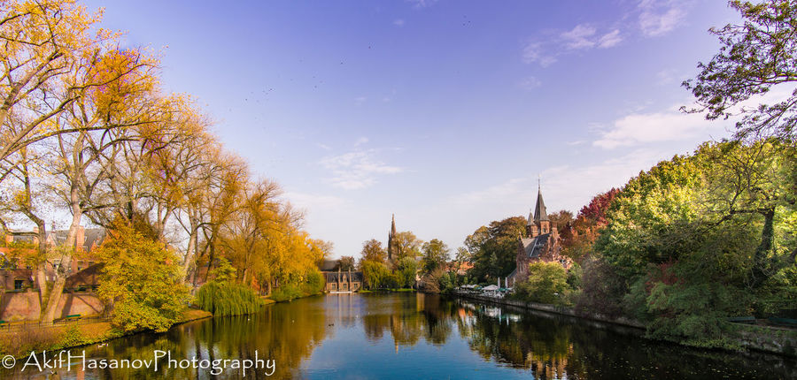 Bruges, Belgium Autumn Built Structure Nature Reflection Sky Tranquil Scene Tranquility Travel Destinations Tree Water
