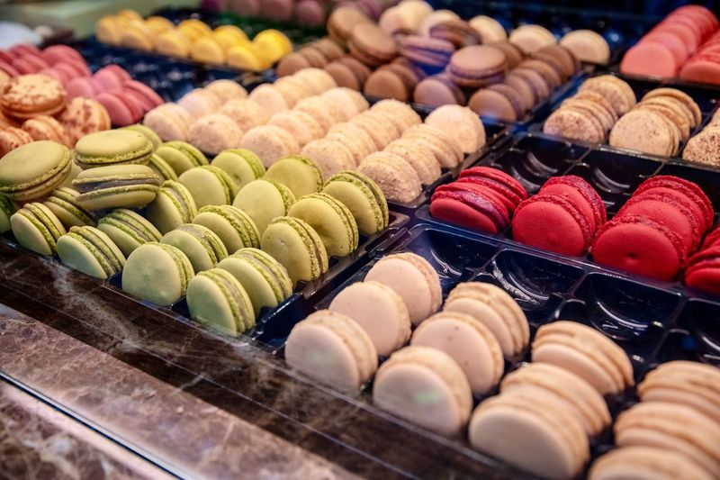 Sweets Macarons Large Group Of Objects Multi Colored Macaroon Food Food And Drink Choice Sweet Food In A Row For Sale Arrangement Sweet Dessert Still Life Freshness