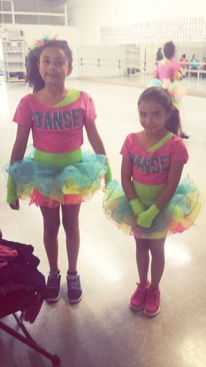 Dance costumes are here! They love their costumes.
