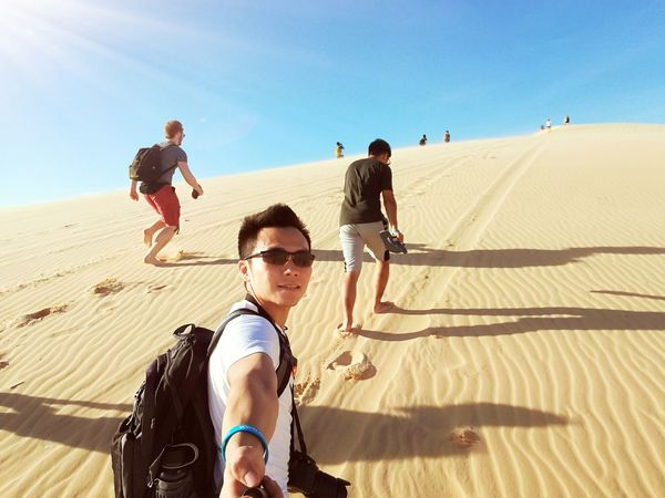 Sand Sand Dune Desert Sunglasses Males  Men Sunlight Summer Friendship Vacations Outdoors Leisure Activity People Adult Fun Sky Day Togetherness Arid Climate EyeEm New Here EyeEm Best Shots Vientnam Vacations Backpacker Miles Away