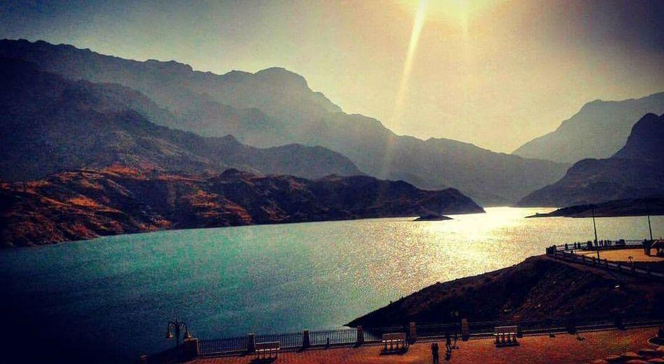 Mountain Beauty In Nature Sunlight Nature Sunbeam Water Oman Dam