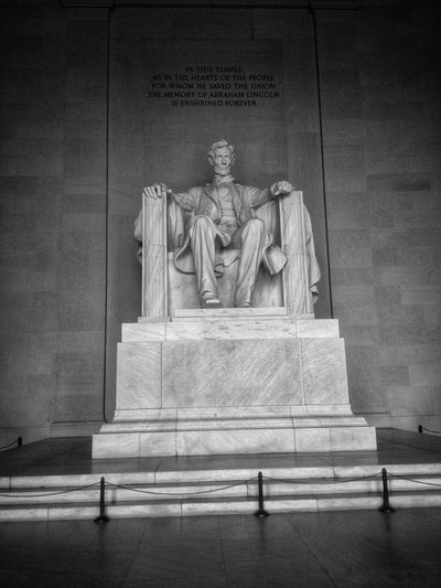 EyeEm United States Of America EyeEm Selects First Eyeem Photo Lincoln Memorial Human Representation Representation Sculpture Art And Craft Statue Male Likeness Architecture Memorial Built Structure Text Creativity The Past History Travel Destinations