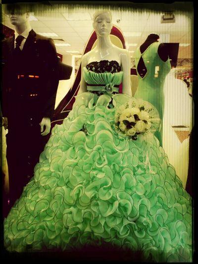 City Life Shop Window Bridal Fashion Green