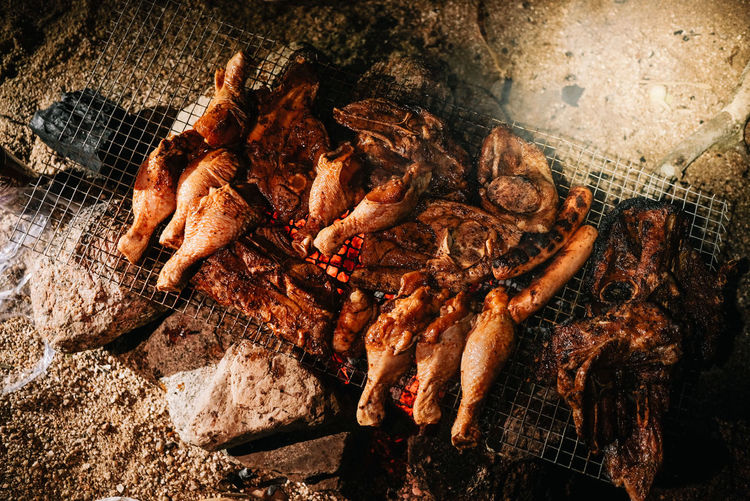 High angle view of crab on barbecue grill