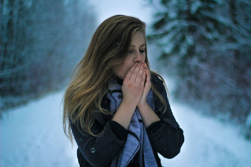 Winter Portrait Young Women Girl Beautiful Canon Canada West Coast Smiling Cool Tones Lightroom Edit Real People One Person Weather Lifestyles Thoughtful Front View Leisure Activity Cold Temperature Day Outdoors Young Adult Snow Nature Close-up