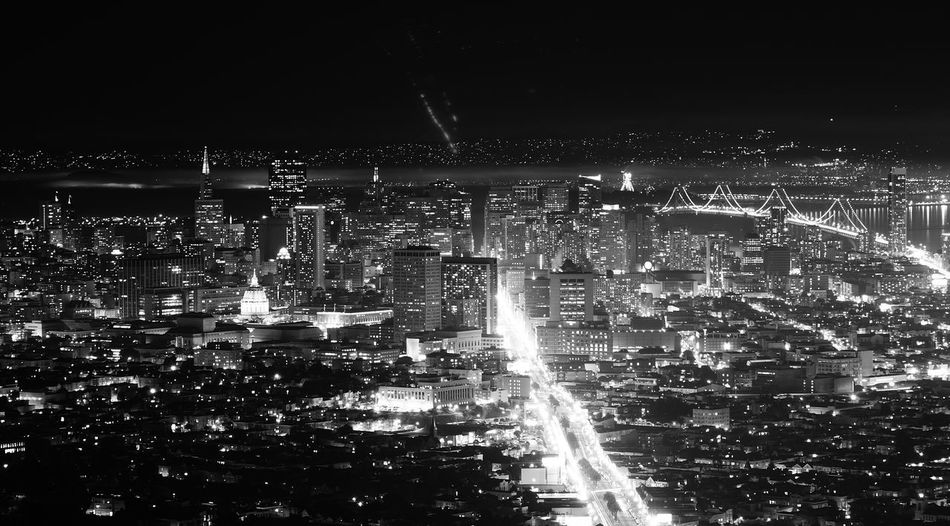 San Fransisco Black And White City California City At Night Mountain View Night City Nightphotography San Francisco United States Architecture Black And White Black And White Photography Building Exterior Built Structure City Cityscape Illuminated Night Night City Light No People Outdoors Sky View From Above View From Mountain Water Mobility In Mega Cities