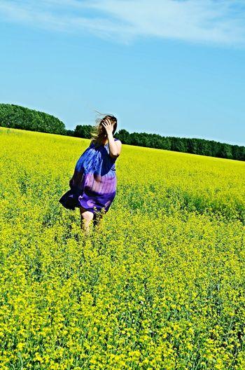 Wind Girl Enjoying Life Memory Hello World Summer Flowers Field Yellow