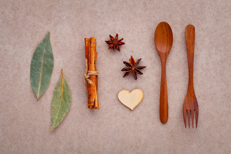 Close-Up Of Spices With Wooden Spoon And Fork