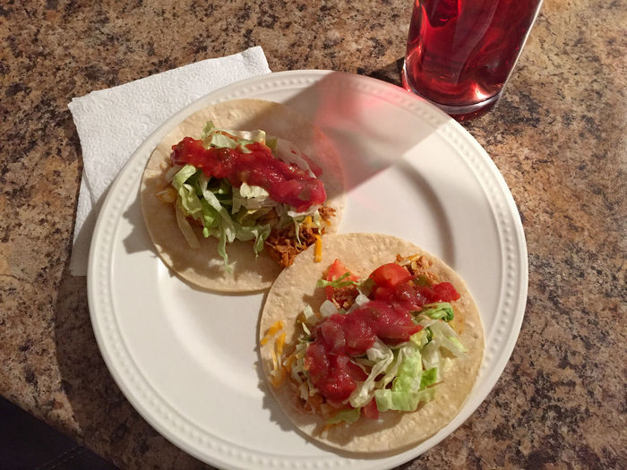 Chicken tacos and sangria in Denver, CO Close-up Colorado Denver Denver,CO Food Freshness Lunch Meal Mexican Mexican Food No People Plate Ready-to-eat Salad Salsa Sangria Serving Size Snack Still Life Taco United United States United States Of America