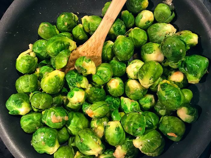 Green Color Food Freshness Healthy Eating Food And Drink Vegetable Brussels Sprout No People Close-up Indoors  Day Cooking Sauté Diet Health Healthy Food Food And Drink Fresh Produce Vegetables Garlic Recipe Nutrition Nutritional Delicious