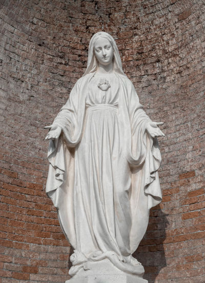 Christmas God Italy Architecture Art Background Blessed  Body Bricks Catholic Catholicism Christian Christianity Church Easter Exterior Faith Female Figure Hand Holy Icon Italian Love Madonna Mary Mother Old Red Religion Religious  Retro Saint Sculpture Spiritual Statue Stone Symbol Vertical Vintage Virgin  Wall White Woman
