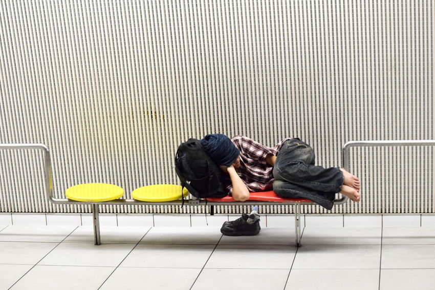 Full Length Indoors  One Person One Man Only People Sleep Transient Train Station Subway Urban People Nap Japan Breathing Space EyeEmNewHere EyeEm Selects