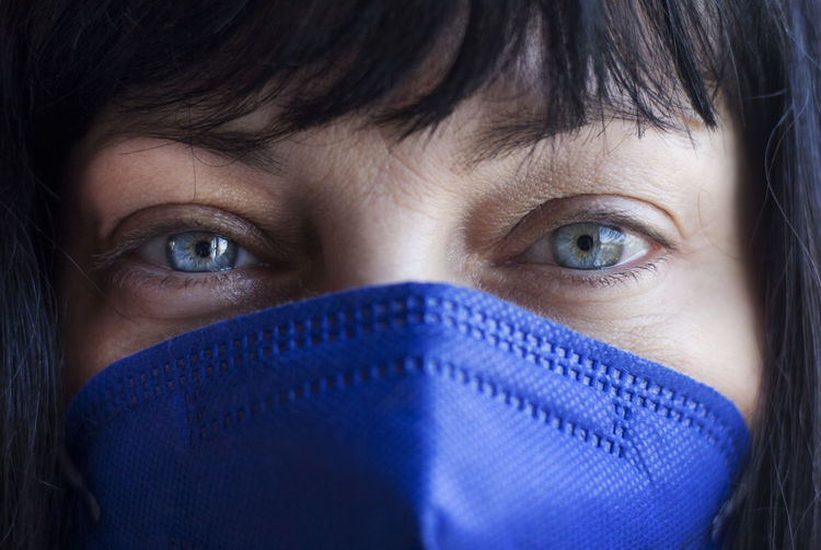 Close-up portrait of woman covering face