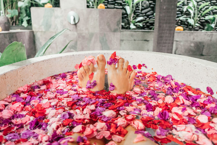 Spa Time Bali Relaxing Relaxing Moments Beauty Care Body Care Body Part Petal Flower Petals Flower Bath Spa Treatment Serenity Hygiene Intimate Feminine  Flower One Person Relaxation Indulgence Beauty In Nature Nail Polish Nail Human Foot Floating On Water