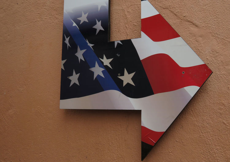 Sign Decoration Arrow American Flag Outdoors Flag Cultures Close-up Star Shape Information
