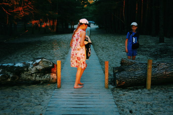 Siblings Forest Fairytale  Path Sand Pine Woodland Sunset Sunlight VSCO Summer Evening Light Golden Blue Full Length Togetherness
