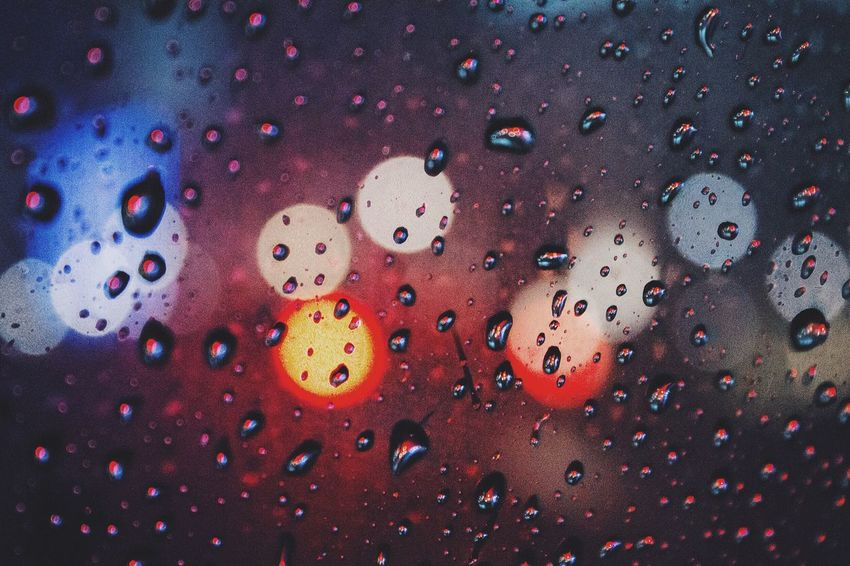 Happy in the rain Bokeh Minimalism Night Lights Nightphotography Raindrops Rain Relaxing