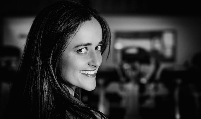 Beautiful Black And White Black And White Photography Brunette Casual Casual Clothing Close-up Face Fashion Focus On Foreground Girl Headshot Joy Lady Lifestyles Location Shoot Makeup Model Nice Portrait Sexygirl Smiling Studio Woman Young