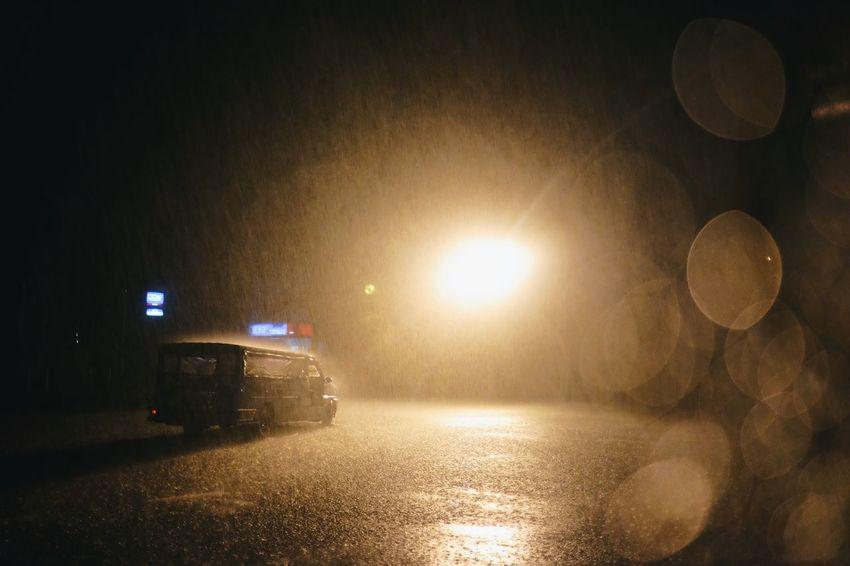 Night Illuminated Lens Flare Transportation Car Mode Of Transport Land Vehicle No People Outdoors Road Sky
