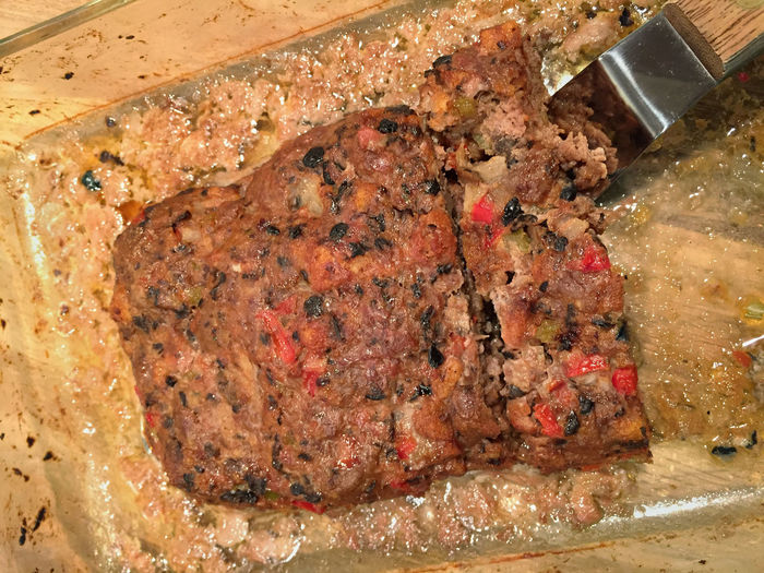 Meatloaf in baking dish with spatula Baking Close-up Dinner Dish Dish Of The Day Food Freshness Meat Meatloaf No People Serving Size Spatula