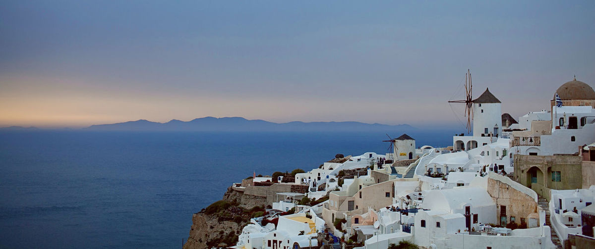 Santorini Architecture Built Structure Cloud - Sky Destination Famous Place Holiday Santorini, Greece Sky Vacation Vacations Landscapes With WhiteWall