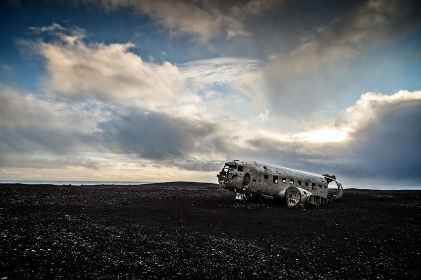 Famous DC-3 wreck on the Southern Coast of Iceland Dc-3 Aircraft Iceland Plant US Navy Abandoned Air Vehicle Airplane Beauty In Nature Cloud - Sky Damaged Day Environment Horizon Horizon Over Land Land Landscape Mode Of Transportation Nature No People Outdoors Ruined Scenics - Nature Sky Transportation Travel