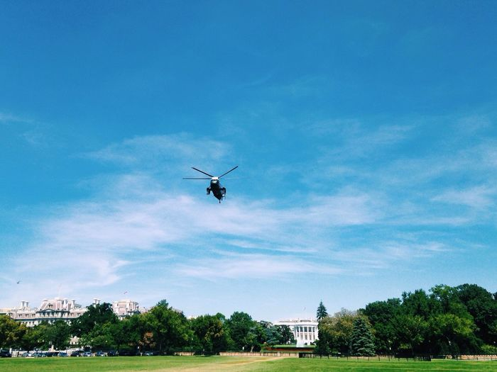 Helicopter landing at government building