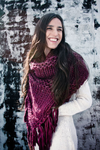 Beautoful Brick Brick Wall Bright Brooklyn Cold Fashion Girl Happiness Person Rooftop Scarf Smile Sunny Woman